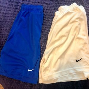 blue and/or white nike shorts